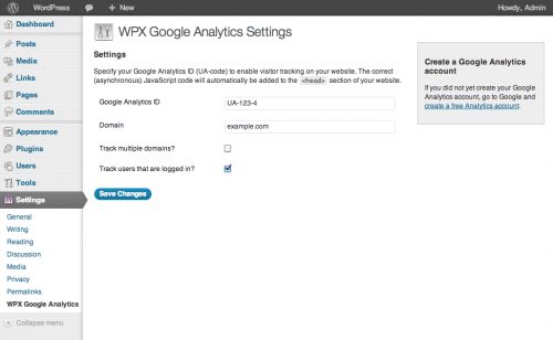 WPX Google Analytics