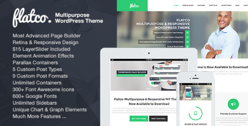 Flatco - Responsive WP One Page Theme