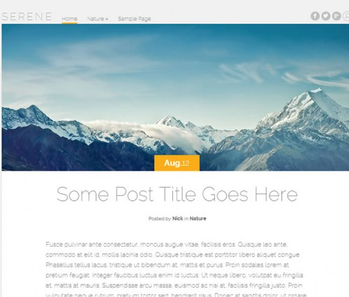 Serene Blogging WordPress Theme