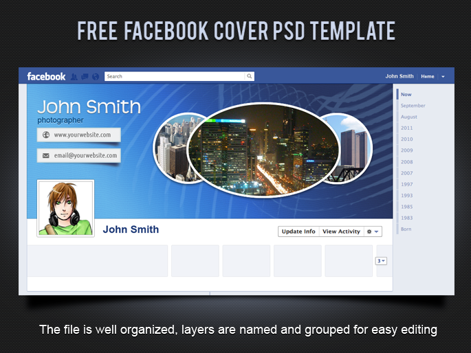 19 splendorous facebook timeline covers psd templates for Facebook page design template free