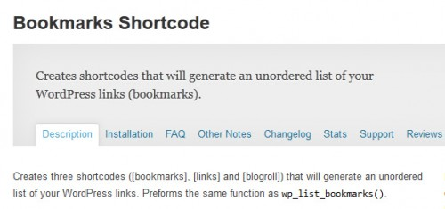 Bookmarks Shortcode