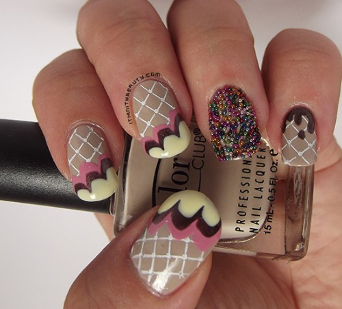 Ice Cream on Waffles - Nail Art