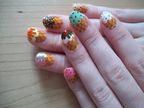 Icecream Cone Nails Art for Women