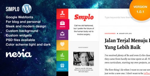 Simplo - Responsive WordPress Blog, Personal Theme