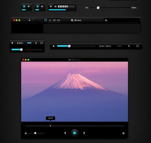 Black UI Music & Video Player PSD