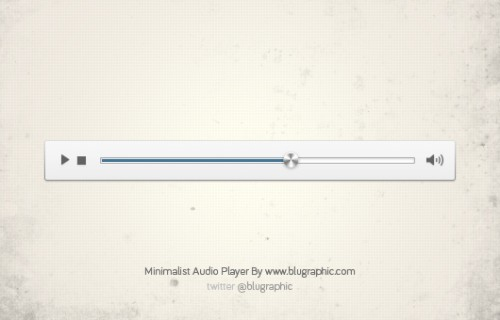 Free Minimalist Audio Player Psd