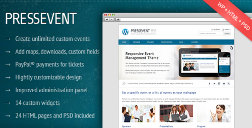 PressEvent - Event Management WordPress Theme